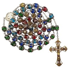 Vibrant Multi-Color Vintage Rosary | Laced Bead Caps | 68 Grams