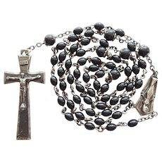 Vintage Creed Sterling & Bakelite Catholic Rosary | Elongated Elegance