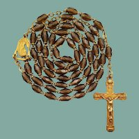 Vintage French Gilded Topaz Glass Catholic Rosary