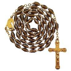 Vintage French Gilded Topaz Glass Catholic Rosary