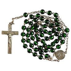 Silver Plated & Forest Green Glass Rosary | Roma