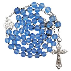 Large Antique French Silver & Blue Glass Catholic Rosary | 63 Grams