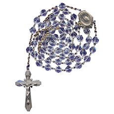 Vintage Sterling & Box Cut Glass Catholic Rosary | 47 Grams