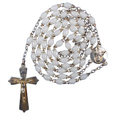 French Gilded & White Prosser Bead Catholic Rosary | Scapular Center