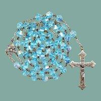 Vintage Blue Glass Catholic Rosary | Jesuit Sacred Heart Center | 44 Grams