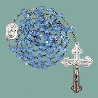 Vintage Italian Sterling Silver & Blue Glass Catholic Rosary