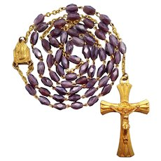 Vintage French Amethyst Art Glass Gilded Catholic Rosary