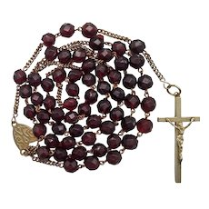 Victorian Silver & Garnet Glass Catholic Rosary | Jesuit & Ave Maria Center