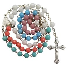 Vintage Italian Multicolor Glass Prosser Bead Catholic Rosary