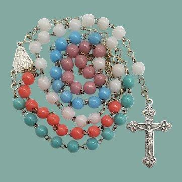 Vintage Italian Multicolor Glass Prosser Bead Catholic Rosary