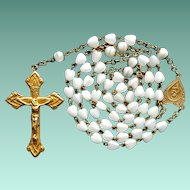 Vintage Heart-Shaped White Glass Bead & Brass Catholic Rosary