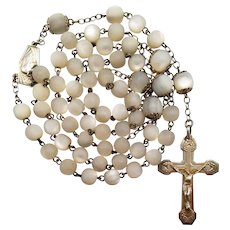 French Art Deco Mother of Pearl and Gold Vermeil Catholic Rosary | Crab Hallmarks