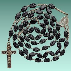 Vintage German Folk Art Catholic Rosary – Artisanal Pressed Glass Beads – Scarce Trinity Crucifix