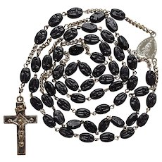 Vintage German Folk Art Catholic Rosary – Artisanal Pressed Glass Beads – Scarce Trinity Crucifix