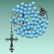Fabulous French Art Nouveau Antique Silver & Opaque Blue Glass Catholic Rosary – Black Patina