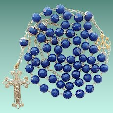 Antique Art Nouveau French Silver & Art Glass Catholic Rosary – 56 Grams