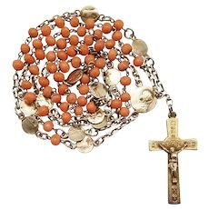 Antique French Gold Vermeil & Coral Catholic Rosary | Leather Pouch
