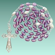Antique French Silver & Amethyst Glass Catholic Rosary – Rare Figural Center