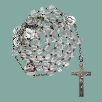Vintage French Glass Catholic Rosary | Pater Medals Signed OBC