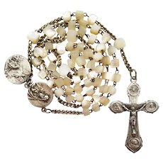 1933 Jubilee Catholic Mother of Pearl Rosary | Papal Crucifix | Devotional Medal