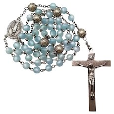 1960s Sterling & Moonglow Lucite Catholic Rosary | Miraculous Medal Center