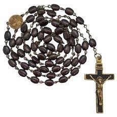 Rare 1900s Brown Glass & Brass Catholic Rosary with Inlaid Crucifix