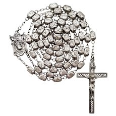 Vintage All-Sterling Catholic Rosary | Scarce Etched Rectangular Beads