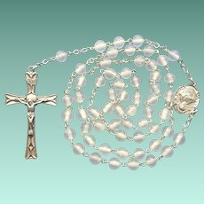 Vintage Frosted Glass & Sterling Catholic Rosary – Sacred Heart Center Medal