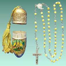 Rare Vintage Catholic Pilgrimage Rosary & Bullet Case – Pöstlingberg Basilica of the Seven Sorrows of Mary