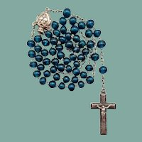 Rare French Silver & Teal Glass Antique Catholic Rosary | Puffed Crucifix & Center