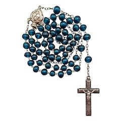 Rare French Silver & Teal Glass Antique Catholic Rosary   Puffed Crucifix & Center