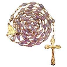 Antique Gold-Filled Saphiret Catholic Rosary | Pristine Elegance