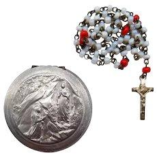 Rare Miniature Glass Poupee Doll Rosary in Lourdes Case