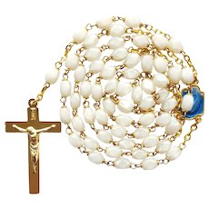 Vintage French White Glass Catholic Rosary – Enameled Center – New Old Stock