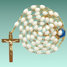 Vintage French White Glass Catholic Rosary – Enameled Center – New Old Stock