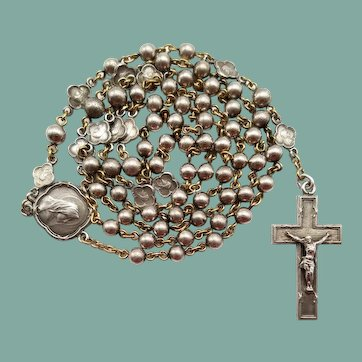 1924 Elegant French Silver Catholic Rosary | Cameo Spacer Medals
