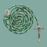 Vintage Green Core Glass Bead Catholic Rosary | 46 Grams