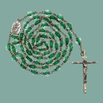 Vintage Green Core Glass Bead Catholic Rosary | 46 Grams