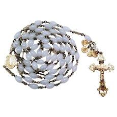 Elegant Vintage Gilded & White Glass Catholic Rosary | Fancy Links