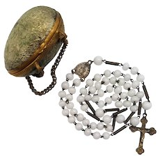 Antique French Mission Rosary | Ornate Brass Egg Case