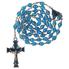 Modernist Teal & Guilloche Enamel Catholic Rosary | Italy | 40 Grams