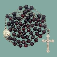 Vintage Italian Rosary | Dimpled Red Glass