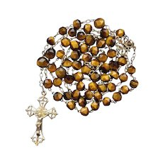 French Gold Vermeil & Tiger Eye Catholic Rosary | Art Nouveau