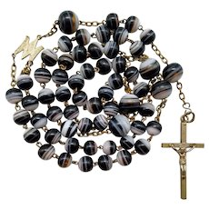 Victorian Agate Art Glass Catholic Rosary | 41 Grams