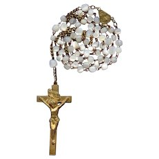 Vintage Brass & Mother of Pearl Catholic Rosary | Elongated Crucifix