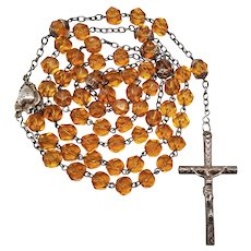 Antique French Puffed Silver & Citrine Glass Catholic Rosary   Winged Sacred Heart Center
