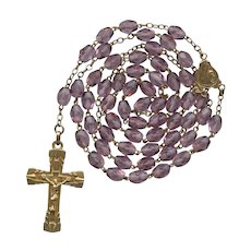 Vintage Art Deco Amethyst Glass Catholic Rosary