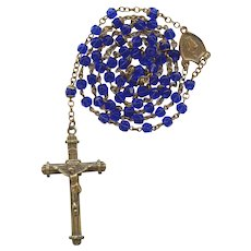Vintage Copper & Cobalt Glass Catholic Rosary | Czechoslovakia