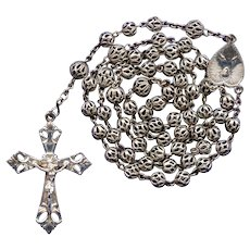 Vintage All-Filigree Alpacca Catholic Rosary