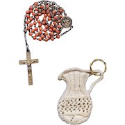 Antique Rare Catholic First Communion Rosary – Coral & Gold Vermeil French Hallmarks – Engravable with Crocheted Pouch